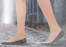 Womans legs Walking on path in city Royalty Free Stock Photos