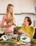 Womans with medicinal herbs Stock Photos