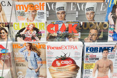 Womans and mens magazines in italy Stock Photography