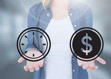 Womans open palm hands holding time and money dollar icons royalty free stock photos