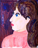 Womans portrait in acrylic painting Royalty Free Stock Photography