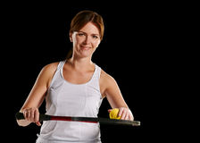 Womans portrait with a tennis racket and ball Royalty Free Stock Photos