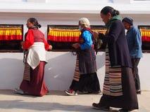 Stupa in boudhanath. Womans praying  in stupa Stock Photography