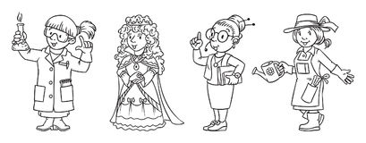 Womans profession coloring book set. Woman. Coloring picture or coloring book set of funny chemist, queen, inerpreter or secretary and gardener. Profession Stock Images