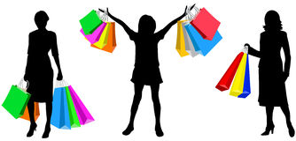 Womans with purchases Royalty Free Stock Photos