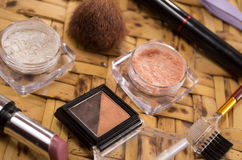 Womans purse accessories concept with makeup Stock Images