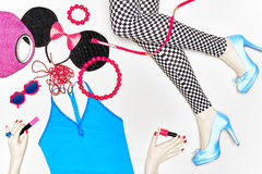 Overhead Outfit. Fashion essentials set,background Royalty Free Stock Images