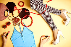 Set of stylish fashion clothes, womans slim legs, accessories Royalty Free Stock Image