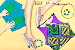 Overhead Outfit fashion set, hipster modern style Royalty Free Stock Photos