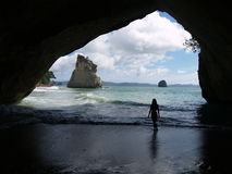 Womans shilouette at Cathedral Cove Royalty Free Stock Photo