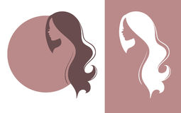 Womans silhouette with beautiful hair Royalty Free Stock Images