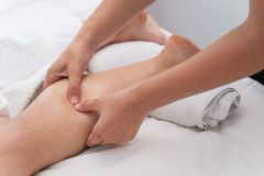 Womans in spa salon massage therapy and beauty treatments Royalty Free Stock Image