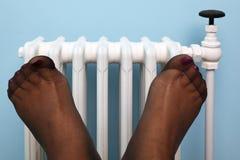 Womans Strumpffüße vor Kühler stockbilder