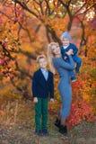 WomanwithTwo knappe leuke broers die van de moederdame op pompoen in de herfst alleen bos zitten stock fotografie