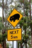 Wombat Road Sign. In the Alpine region Victoria, Australia Stock Photos
