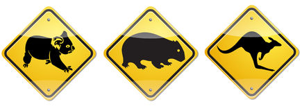 Wombat sign. The sign to warn you to beware the wombat for this area Royalty Free Stock Photos