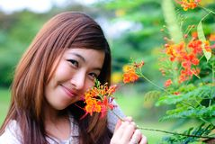 Womem and flower Stock Images