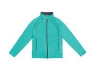 Women's сини бирюзы тренируя куртку спорт; изолированный на whi Стоковые Фотографии RF