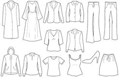 Women�s casual clothes Royalty Free Stock Images
