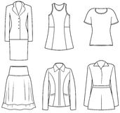 Women's clothes. Casual women's clothes vector illustration Stock Photo