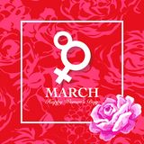 Women's day card with rose. Women's day card. 8 March, international women`s day rose flower background Vector Illustration