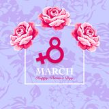 Women's day card with rose. Women's day card. 8 March, international women`s day rose flower background Stock Illustration