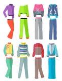 Women& x27 φόρμες γυμναστικής του s στο επίπεδο σχέδιο διανυσματική απεικόνιση