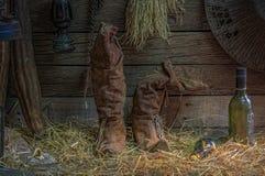 Women& x27; ботинки s с старым вискиом бутылки или старым вином и Eq бутылки Стоковые Фото