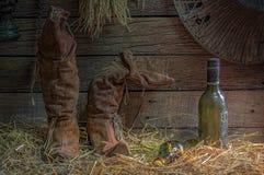 Women& x27; ботинки s с старым вискиом бутылки или старым вином и Eq бутылки Стоковые Фотографии RF