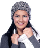Women. Beautiful young woman in warm clothing, isolated on white Royalty Free Stock Photo