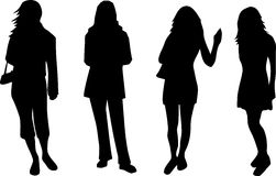 Women. Four black silhouettes of young woman Stock Photos