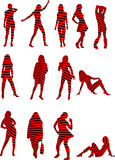 Women. Silhouette illustrations of women with abstract stripes Stock Photography