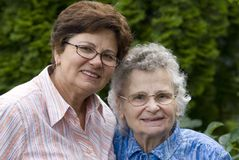 Women. Elderly woman with her daughter Royalty Free Stock Photography