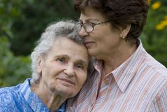 Women. Elderly woman with her daughter Royalty Free Stock Photo