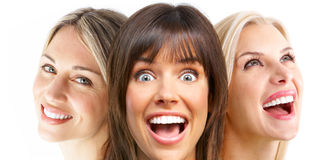 Women. Beautiful young smiling women. Isolated over white  background Royalty Free Stock Images