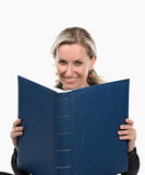 Women. Young women with book. White background Royalty Free Stock Photography