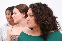 Women. Image of three young women of different race, conceptual diversity and beauty stock images