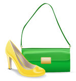 Women accessories  bag and shoe. Women accessories green bag and yellow shoe. Isolated on white background Stock Photo