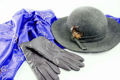 Women accessories. Felt hat with leather gloves and blue shawl Stock Photography