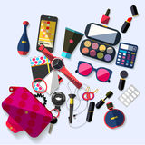 Women accessories. Flat design. Royalty Free Stock Images