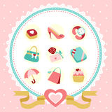 Women accessories icon set Royalty Free Stock Photography