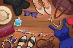 Women Accessories Illustration Background. Colored women accessories illustration background with things and accessories lying on the floor vector illustration Stock Image
