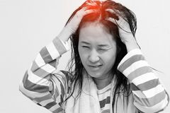 Women are aching. Asian woman are aching after a shower stock photo