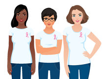 Women activist community awareness of breast cancer. Stock vector illustration of a woman activist community awareness of breast cancer Royalty Free Stock Images