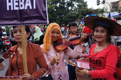 Women activists. Calling for equal rights in the city of Solo, Central Java, Indonesia royalty free stock photography