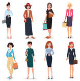 Women adult in business office and fashion clothes. Beautiful cartoon adults woman collection Stock Photography