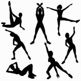 Women Aerobic Silhouettes Royalty Free Stock Image
