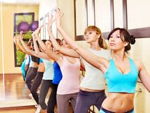 Women in aerobics class. Women group in aerobics class royalty free stock photos
