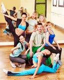 Women in aerobics class. Women group in aerobics class.  Fitness ball Stock Photo