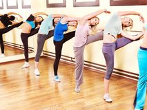 Women in aerobics class. Women group in aerobics class royalty free stock images